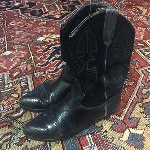 Shoes - Vintage Black Leather & Suede Cowboy Boots